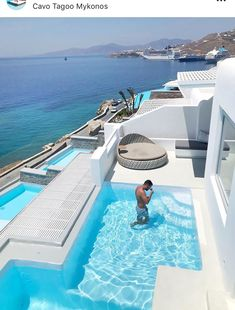 One stunning resort in Mykonos! Wishing we could stay here on our Mykonos trip in August! Photo by Vacation Places, Vacation Destinations, Dream Vacations, Vacation Spots, Beautiful Places To Travel, Beautiful Hotels, Hotels And Resorts, Best Hotels, Cavo Tagoo Mykonos