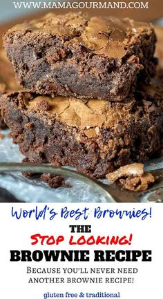 Easy Homemade Brownies are an essential recipe to have. This best ever, go-to brownie recipe from scratch are quick and easy to make with a chewy crust, fudgy center, and crackly top layer. Best Dessert Recipes, Fun Desserts, Sweet Recipes, Delicious Desserts, Yummy Food, Best Desserts To Make, Chewy Brownies, Homemade Brownies, Chocolate Brownies