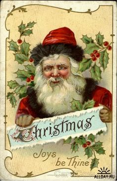 Magnet Vintage Santa Claus Holly Image from Antique Christmas Postcard Vintage Christmas Images, Christmas Past, Victorian Christmas, Father Christmas, Christmas Pictures, Christmas Postcards, Vintage Images, Whimsical Christmas, Xmas