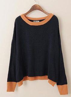 Sweet Loose Bat Sleeve Sweater Black  S005159