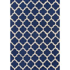Hand-hooked Casablanca Blue Polyester Rug - Overstock™ Shopping - Great Deals on 5x8 - 6x9 Rugs