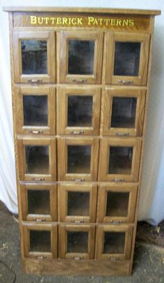 Apothecary, Cubbies U0026 Storage · Butterick Pattern Cabinet, 15 Glass Front  Drawers, BRASS LANTERN ANTIQUES Country Store Display,