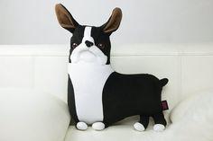 boston terrier plush dog Black Frenchie Toy black boston