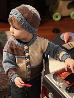 Kid-friendly pattern that features colored panels on the front and stripes on the back. For the sweater, knit with approx 115 (140, 170, 205, 340, 280) yds of Color A, 60 (70, 85, 100, 120, 140) yds of Color B, and 65 (80, 100, 115, 125, 155) yds o...