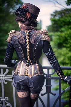 Great steampunk costume  The kit includes: -bolero, -courset, -shorts, -suspenders for stockings  If you have any questions or would like to place a custom order, don't hesitate to write us directly at dressartmystery [!at] gmail.com.