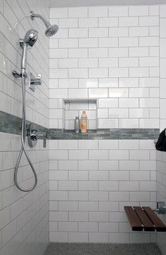 Modern White Shower With Subway Tile And Bench Traditional Bathroom