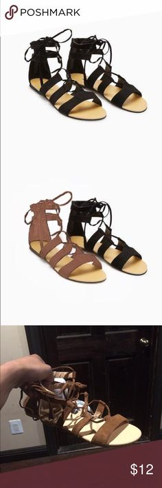 Womens lace up gladiator sandles fox suede nwt, Nwt,wet seal Wet Seal Shoes Sandals