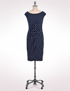 Navy Polkadot Side Wrap Dress
