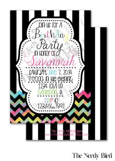 Colorful Chevron Black and White Striped Design by TheNerdyBird1, $15.00