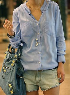 Cheap Wholesale Casual Loose-Fit Solid Color Single-Breasted Stand Collar Long Sleeves Women's Shirt (SKY BLUE,ONE SIZE) At Price 8.30 - Dresslily.com