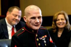 The Beautiful Face of Courage Story. Lance Cpl. William Kyle Carpenter USMC.    Carpenter, 21, of Gilbert lost the eye, most of his teeth and use of his right arm from a grenade blast Nov. 21 near Marjah, Helmand Province, Afghanistan.    Friends and family say he threw himself in front of the grenade to protect his best friend in Afghanistan, Cpl. Nick Eufrazio