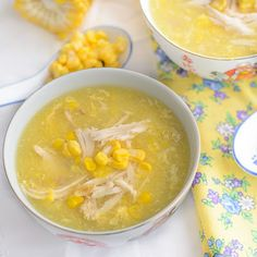 Smooth Silky chicken sweetcorn soup use either fresh chicken breast for healthier option or use leftover roast chicken, either fresh corns or canned creamed corn. all done in less than 15 minutes Sweetcorn Soup Recipes, Chicken And Sweetcorn Soup, Chicken Corn Soup, Cream Soup Recipes, Sweet Corn Soup, Fresh Chicken, Baked Chicken Recipes, Cream Of Chicken Soup, Roast Chicken