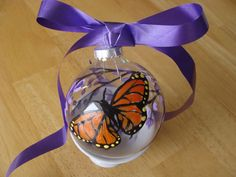 Monarch Butterfly and Lilacs Ornament Glass by CANADIANCREATIONZ, $10.00