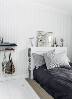 white Nordic bedroom decor with stripe wallpaper white floor Bedroom Decor  On A Budget 582f269a040c4