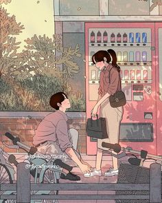 Drawing On Creativity - Drawing On Demand Illustration Art Nouveau, Couple Illustration, Character Illustration, Aesthetic Anime, Aesthetic Art, Couple Drawings, Art Drawings, Cute Couple Art, Korean Art