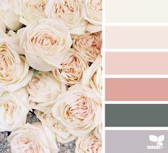 Color palette for the bedroom // { flora tones } image via: Heather Page. Cream And Grey Bedroom, Grey Bedroom Colors, Bedroom Colour Palette, Spring Color Palette, Colour Pallette, Spring Colors, Design Seeds, Cream Wedding Colors, Pantone