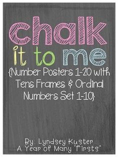 These chalkboard number posters {1-20} are perfect visuals for any classroom! Included on each poster is: the number, the number word, and a tens frame showing the correct number. The number poster set is 8.5 x 11 (the size of a regular piece of paper). The chalkboard ordinal number card set {1-10} is a great visual
