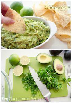 Guacamole: 4 abacates, sumo de uma lima, tabasco, sal, pimenta preta, salsa, coentros.