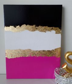 FREE SHIPPING Kate Spade Inspired Acrylic Canvas Painting Black Pink White Gold Leaf, Wall Home Office Decor, Trendy Stylish Fashion , Style by SomethingPrettyArt on Etsy