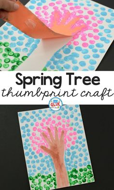 Spring Fingerprint Tree is a simple art project for kids! If you love cherry blossom crafts or season craft, this is perfect for your kindergarten classroom. #springactivities #crafts #art #earlylearning #earlychildhoodeducation #teacherspayteachers #preschool #kindergarten