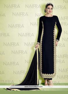 Lovable Georgette Black Designer Suit
