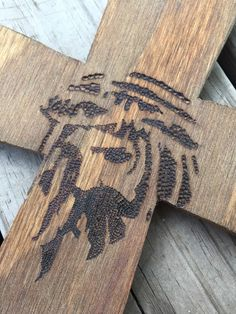 wooden cross with hand stippled design by BurntBush on Etsy