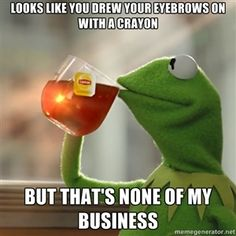 looks like you drew your eyebrows on with a crayon but that's none of my business | Kermit The Frog Drinking Tea