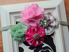 Girls Fabric and Shabby Flower Headband by Made4YouBoutique, $13.00