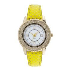 A bright neon band speckled with gold-tone dots make this a fun watch to wear.