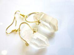 leo - raw quartz earrings - raw crystal earrings with gold