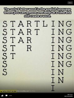 The only 9 letter word in English where you can remove 1 letter at a time & still have a word.