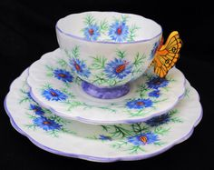 Aynsley art deco Mauve Love in the mist yellow butterfly handle tea cup and saucer trio