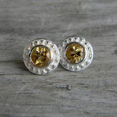 Etruscan Gold Citrine Post Earrings by onegarnetgirl on Etsy, $156.00