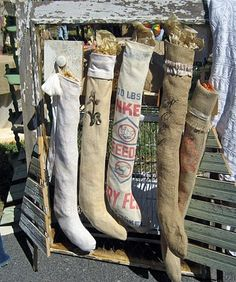 Adorable long, skinny stockings from feed sacks