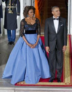 Le look du jour : Michelle Obama séduit François Hollande en Carolina Herrera - Elle