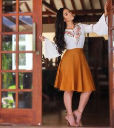 Favorite dressy outfit! Love the Spanish flair with the colors and flowy skirt. Once again I would prefer wedges instead of heels