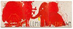 Rose Wylie, 'Red Painting: Bird, Lemur, & Elephant', 2016, CHOI&LAGER Rose Wylie, Japanese Prints, Lemur, All Art, Oil On Canvas, Elephant, Artsy, Bird, Abstract