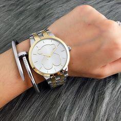 34828f704 Moda Mujer Informal Oso Reloj De Lujo Cuarzo Acero Inoxidable Vestido  Pulsera go. Moda Para ...