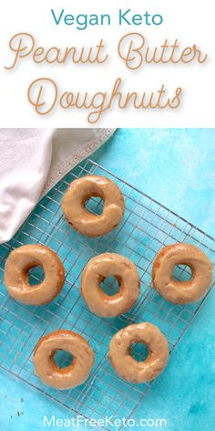 Vegan Keto Peanut Butter Doughnuts | MeatFreeKeto.com - These vegan keto doughnuts are easy to make, delicious and the perfect low carb breakfast or treat. They're gluten-free, sugar-free, egg-free, dairy-free, soy-free and super tasty.