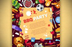BBQ Icons Set + 3 Flyers & Pattern by Decorwith.me Shop on Creative Market