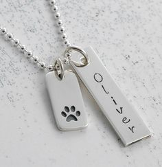 I love my pet - personalized, hand stamped necklace.