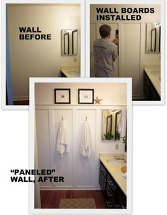 Another lovely version of a paneled wall in a bathroom.