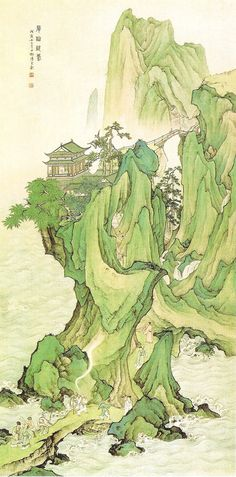 Chen Sao-Mei  chinese landscape art  green man temple mountain