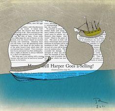 White whale Ocean print Retro Whale nursery art by OrangeOptimist, $45.00
