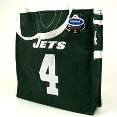 """New York Jets Brett Favre Official Canvas Jersey Tote Bag by NFL. $2.94. Top Quality, Manufactured by Forever Collectibles. Officially licensed by the NFL. Officially licensed by the New York Jets. Terrific canvas tote bag looks like the player's actual player jersey. Show your team spirit everywhere you go. Stitched lettering and numbers. Embroidered official team and player names. Embroidered player number on both sides. Roomy size. Measures 15"""" tall by 15"""" w..."""