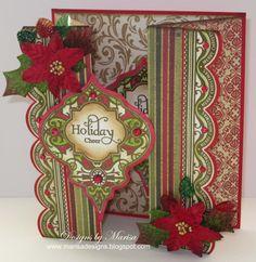 Double Gate Fold Christmas Card using JustRite Papercraft Stamps, Petaloo Flowers, Spellbinders Dies. Designed by Marisa Job