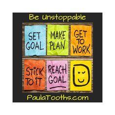 SUCCESS Revision: (1) Set Goal. (2) Make Plan. (3) Get to work. (4) Stick to it. (5) Reach Goal. (6) Be Happy. Be Thankful.  Be Unstoppable - PaulaTooths.com  Paz   #businessstartup #onlinebusiness #coaching #paulatooths #rebranding #askpaz #socialmedia #digitalmarketing #goals #dreams #success #gratitude #positive #changes #chances #opportunities #possibilities #quotes #happiness #startyourbusinessnow #reachyourgoals #letstalkbusiness #hope #faith #joy #abundance #fearless #grateful…