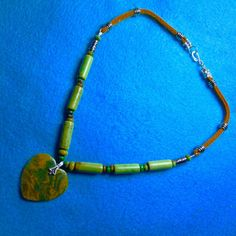 GREEN AGATE HEART On Turquoise Tubes+Leather+Necklace 18 Inch+Native American Made+Free ship* by TjeansJewelry on Etsy
