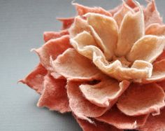 Copper Green Felt Flower Brooch Handmade To Order by BridgetStudio