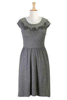 Rose Chain Melange Knit Dress >> eshakti.com